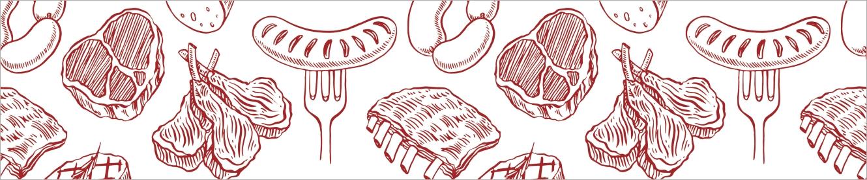 Illustration mit Fleischprodukten