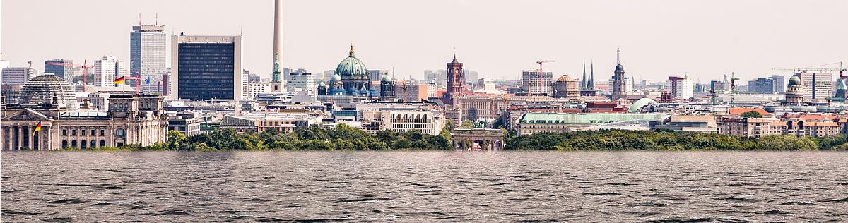 Simulation des steigenden Wasserpegels der Spree in Berlin