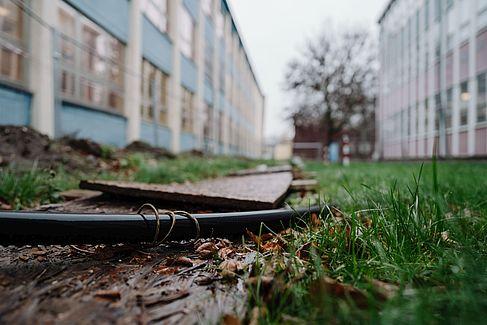 Das Testkabel im freien Gelände © HTW Berlin/Alexander Rentsch