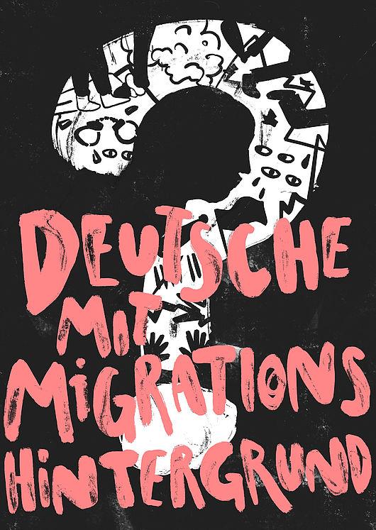 Postkarte mit einem Fragezeichen und dem Text: Deutsche mit Migrationshintergrund