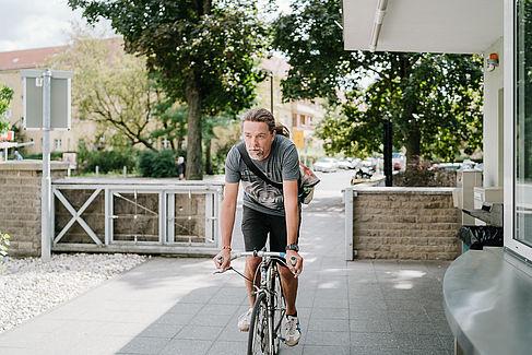 Gernot Welschhoff auf seinem Fahrrad