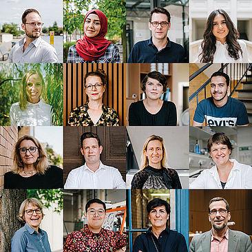 Porträts von Hochschulmitgliedern als Mosaik