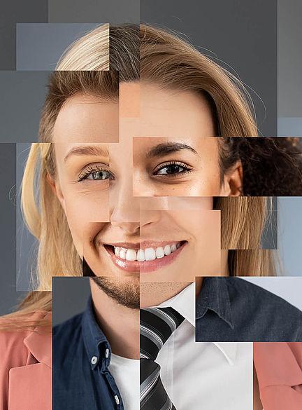 Collage eines menschlichen Gesichts