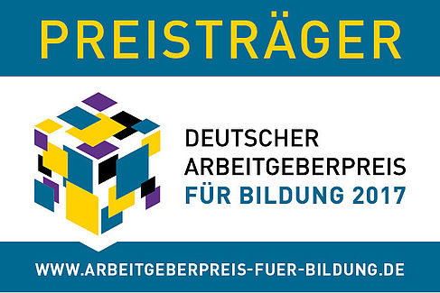 """Logo """"Preisträger Deutscher Arbeitgeberpreis für Bildung 2017"""""""