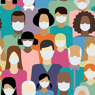 Illustration: Menschen, die medizinische Gesichtsmasken tragen