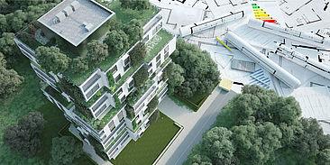 Gebäude mit begrünten Dachgärten