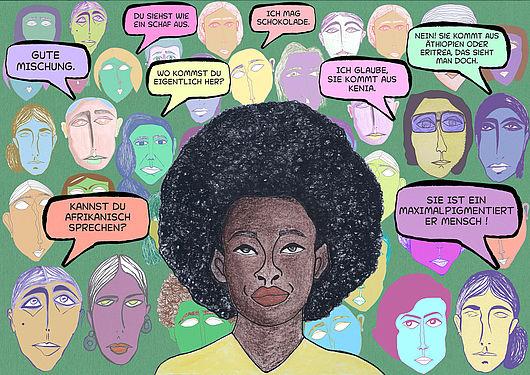 Postkarte mit einer schwarzen Frau und Sprechblasen
