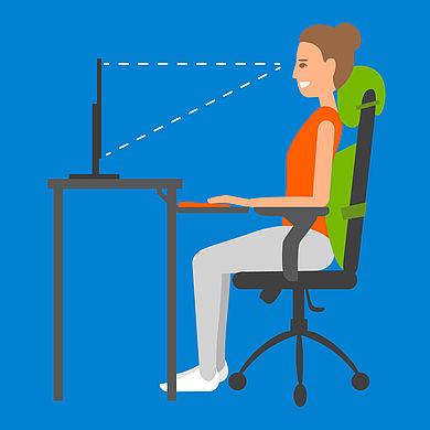 Sitzposition am Schreibtisch