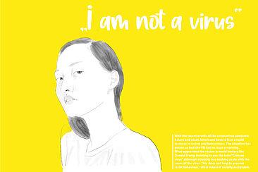 Zeichnung einer Frau mit dem Satz: I´m not a virus