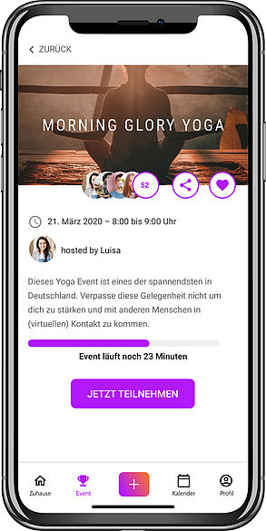 Screenshot der App auf dem Smartphone
