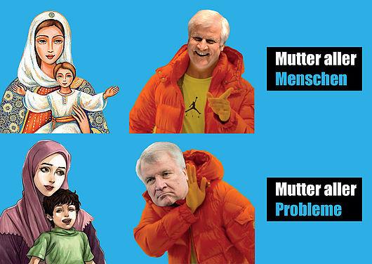 Postkarte mit der Abbildung der Mutter Gottes und Horst Seehofer und den Texten: Mutter aller Menschen, Mutter aller Probleme