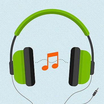 Kopfhörer, dazwischen schwebt eine Note