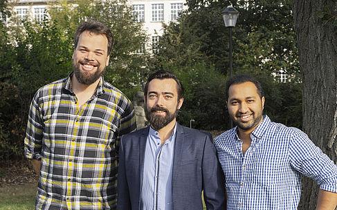 Die MonitorFish-Gründer Dominik Ewald, Jan Viktor Apel und Chaitanya Dhumasker (von links nach rechts).